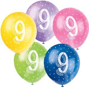 5 Geburtstags Luftballons mit der Zahl 9