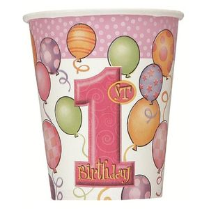 8 Papp Becher Erster Geburtstag rosa Ballons – Bild 1