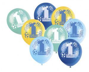 8 Luftballons zum 1. Geburtstag Blau Mix – Bild 1