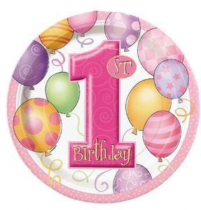 8 Papp Teller Erster Geburtstag rosa Ballons