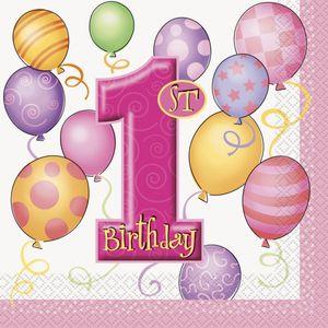 16 Servietten Erster Geburtstag rosa Ballons – Bild 1