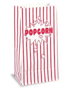 10 Popcorn Papier Tüten rot weiß gestreift 25 x 13 cm