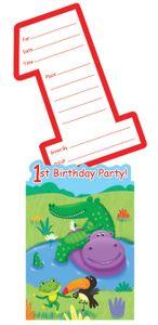 8 Einladungskarten 1. Geburtstag Dschungel