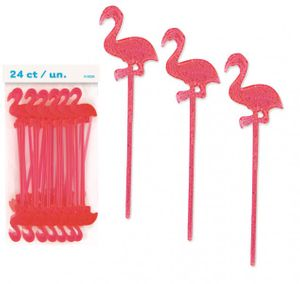24 Party Picker Flamingo für Cocktails + Fingerfood
