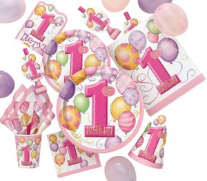 Erster Geburtstag Hochstuhl Deko Set rosa Ballons – Bild 2