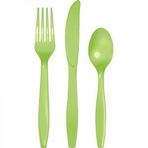 24 Teile Premium Plastik Besteck Limonen Grün