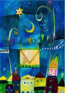 Weihnachts Postkarte 24. blau