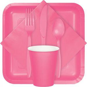 18 quadratische Papp Teller Bonbon Rosa – Bild 2