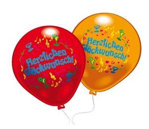 8 Ballons Herzlichen Glückwunsch