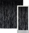 Glitzer Fransen Party Vorhang in Schwarz Metallic - Fotobox 2,4 Meter lang