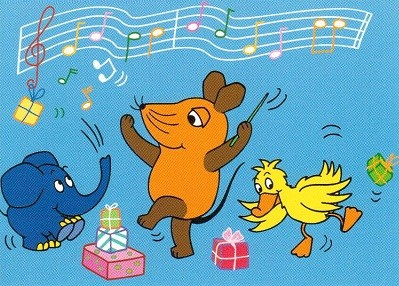 Glückwunsch Postkarte Tanzende Maus