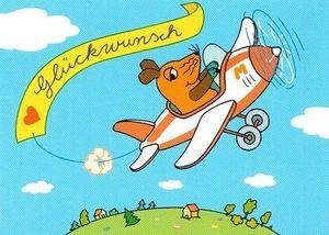 Glückwunschkarte Postkarte fliegende Maus
