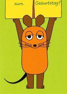 Glückwunschkarte Postkarte die Maus mit Geschenk