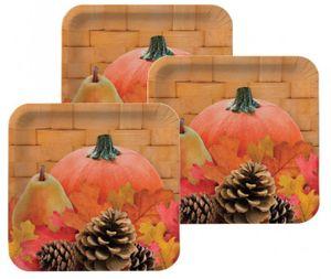 8 kleine Papp Teller Herbst gefüllter Weidenkorb