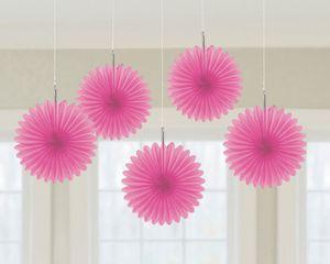 5 Mini Papier Dekofächer Pink