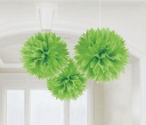3 große Papier Dekobälle Grün