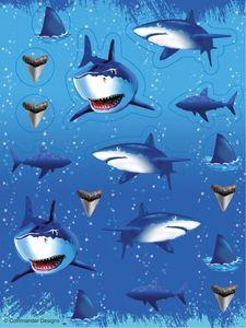 4 Bogen Haifisch Motiv Sticker