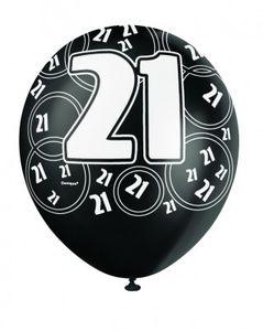 21. Geburtstag Zahlen Ballons Schwarz
