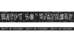 50. Geburtstag Glitzer Banner Schwarz