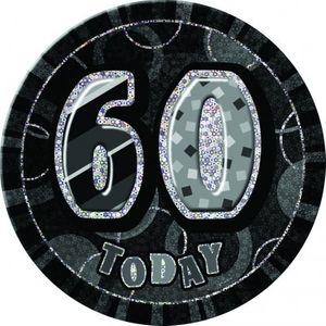 XXL Glitzer Button 60. Geburtstag Schwarz