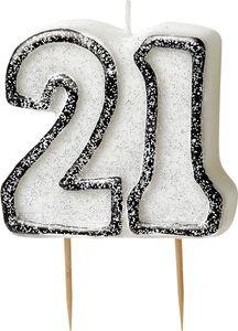 21. Geburtstag Glitzer Kerzen Pick Schwarz