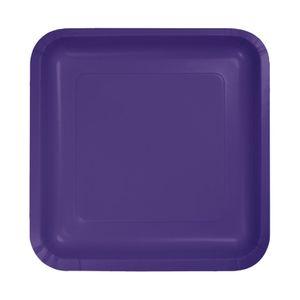 18 kleine quadratische Papp Teller Violett