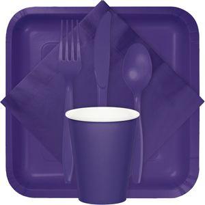 18 quadratische Papp Teller Violett