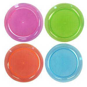 20 Neon bunte Plastik Teller
