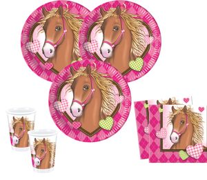 6 Pferde Party Trinkhalme Pink Pony – Bild 2