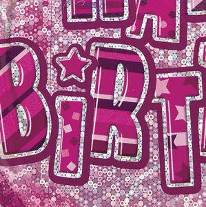 8 glitzernde Happy Birthday Teller in Pink – Bild 2