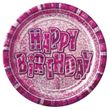 8 glitzernde Happy Birthday Teller in Pink