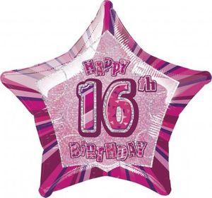 16. Geburtstag Glitzer Folien Ballon Pink