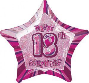 18. Geburtstag Glitzer Folien Ballon Pink