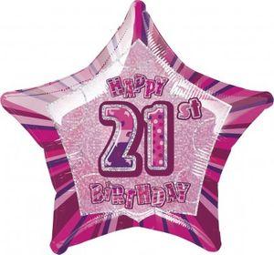 21. Geburtstag Glitzer Folien Ballon Pink