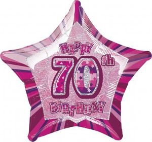 70. Geburtstag Glitzer Folien Ballon Pink