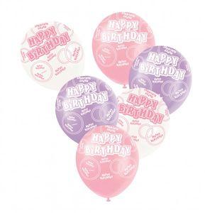 6 Happy Birthday Luftballons Rosa Mix