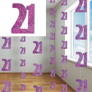 21. Geburtstag Glitzer Girlanden Pink