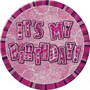 XXL Geburtstag Glitzer Button Pink
