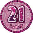 XXL Glitzer Button 21. Geburtstag Pink
