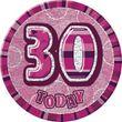 XXL Glitzer Button 30. Geburtstag Pink