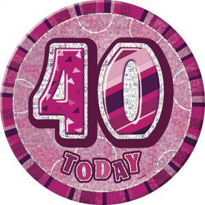 XXL Glitzer Button 40. Geburtstag Pink