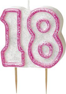 18. Geburtstag Glitzer Kerzen Pick Pink