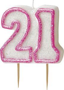 21. Geburtstag Glitzer Kerzen Pick Pink