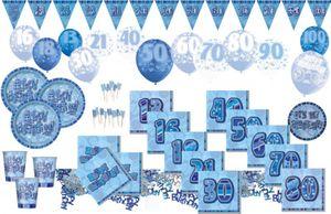 8 glitzernde Happy Birthday Party Teller Blau – Bild 4