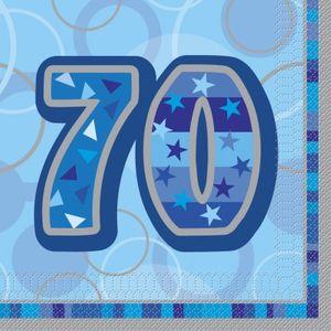 70. Geburtstag Servietten Blau