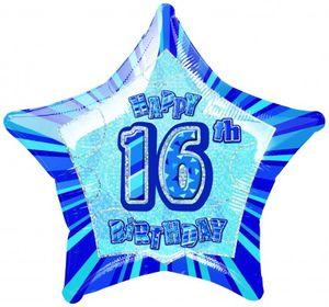 16. Geburtstag Glitzer Folien Ballon Blau
