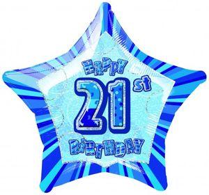21. Geburtstag Glitzer Folien Ballon Blau