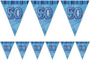 50. Geburtstag Wimpel Girlande Blau – Bild 1
