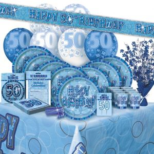 50. Geburtstag Wimpel Girlande Blau – Bild 2