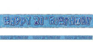 21. Geburtstag Glitzer Banner Blau